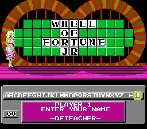 Deteacher: Wheel of Fortune: Junior Edition [Skill 3] (NES/Famicom Emulated) 9,500 points on 2015-07-05 13:41:09