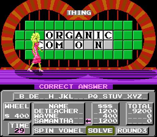 Deteacher: Wheel of Fortune [Skill 1] (NES/Famicom Emulated) 9,200 points on 2015-07-04 08:24:46
