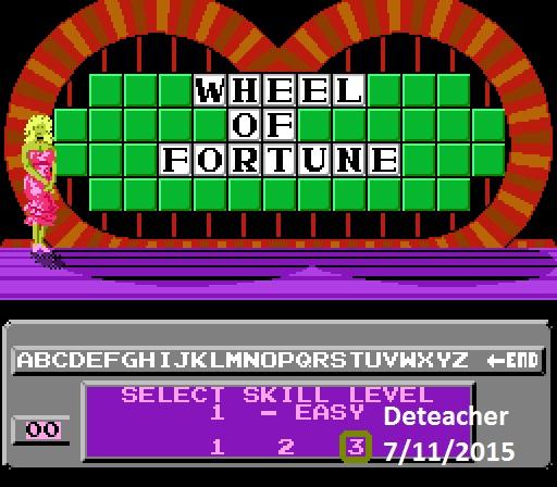 Deteacher: Wheel of Fortune [Skill 3] (NES/Famicom Emulated) 9,650 points on 2015-07-11 13:13:46