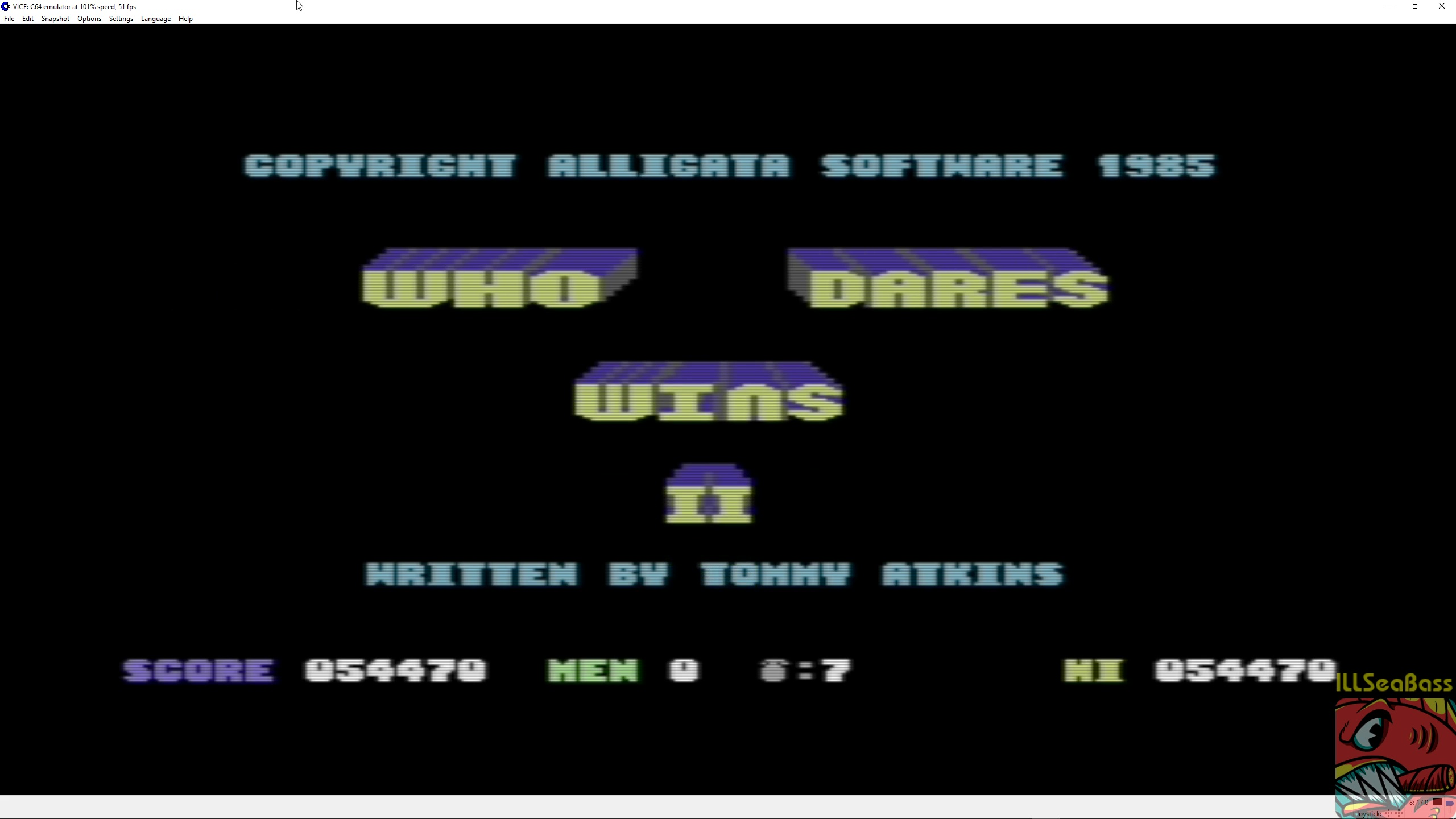 ILLSeaBass: Who Dares Wins II [Alligata] (Commodore 64 Emulated) 54,470 points on 2018-04-06 23:19:44