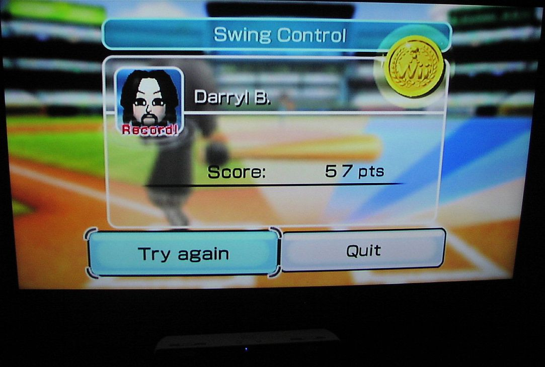 DarrylB: Wii Sports: Baseball [Swing Control] (Wii) 57 points on 2018-05-30 16:38:56