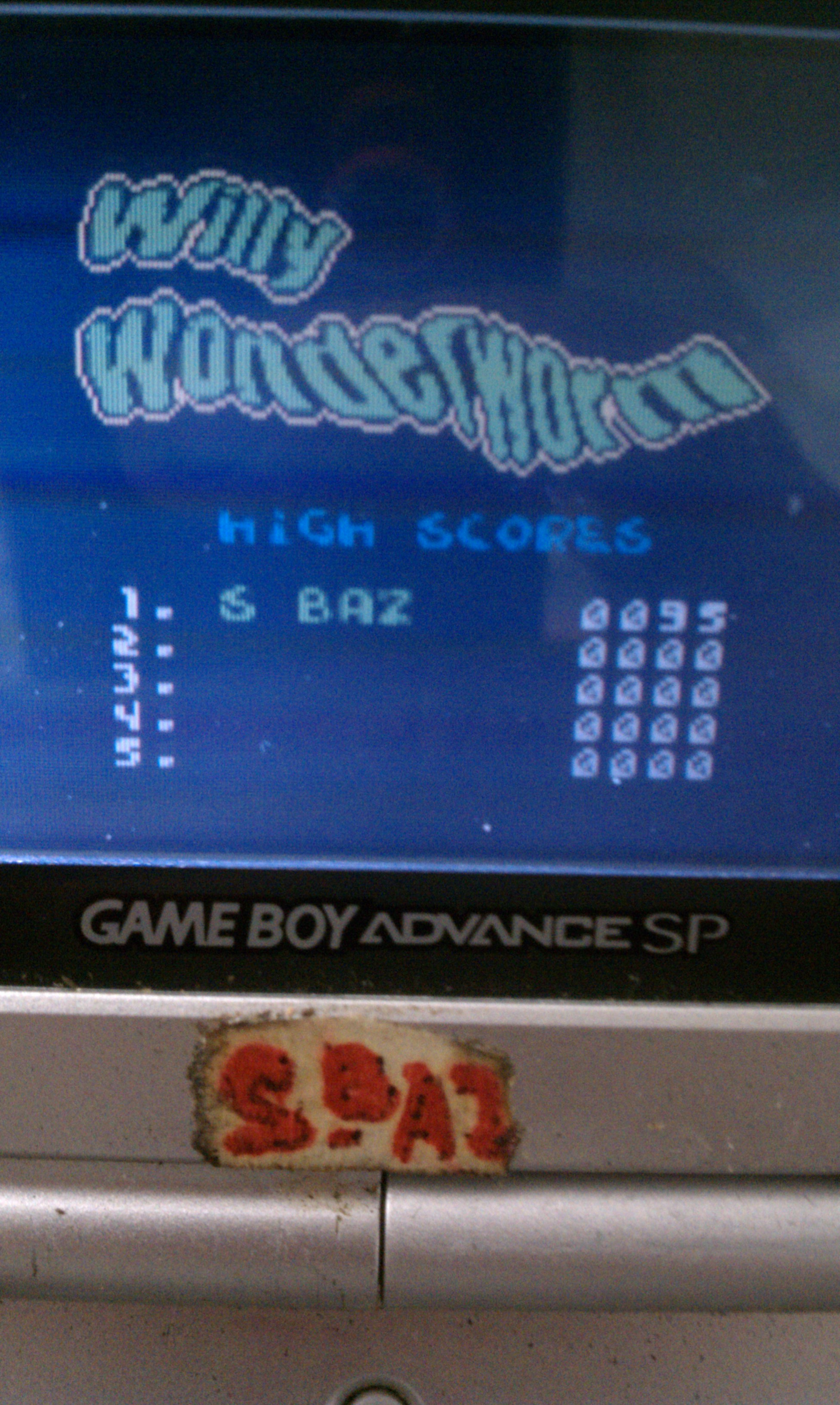 S.BAZ: Willy Wonderworm (Game Boy Color) 95 points on 2019-11-21 04:27:28