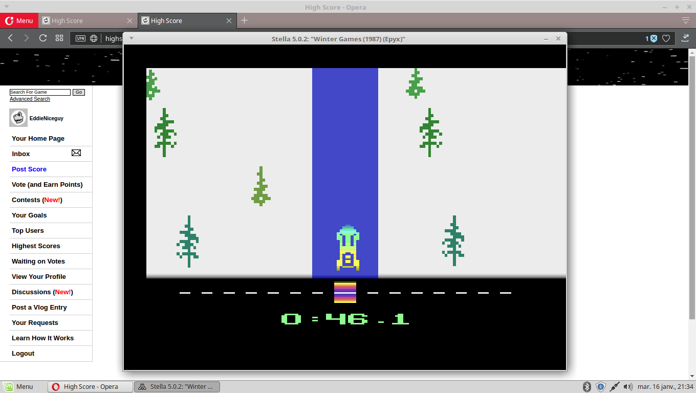 EddieNiceguy: Winter Games: Bobsled [Best Time] (Atari 2600 Emulated) 0:00:46.1 points on 2018-01-16 14:35:46
