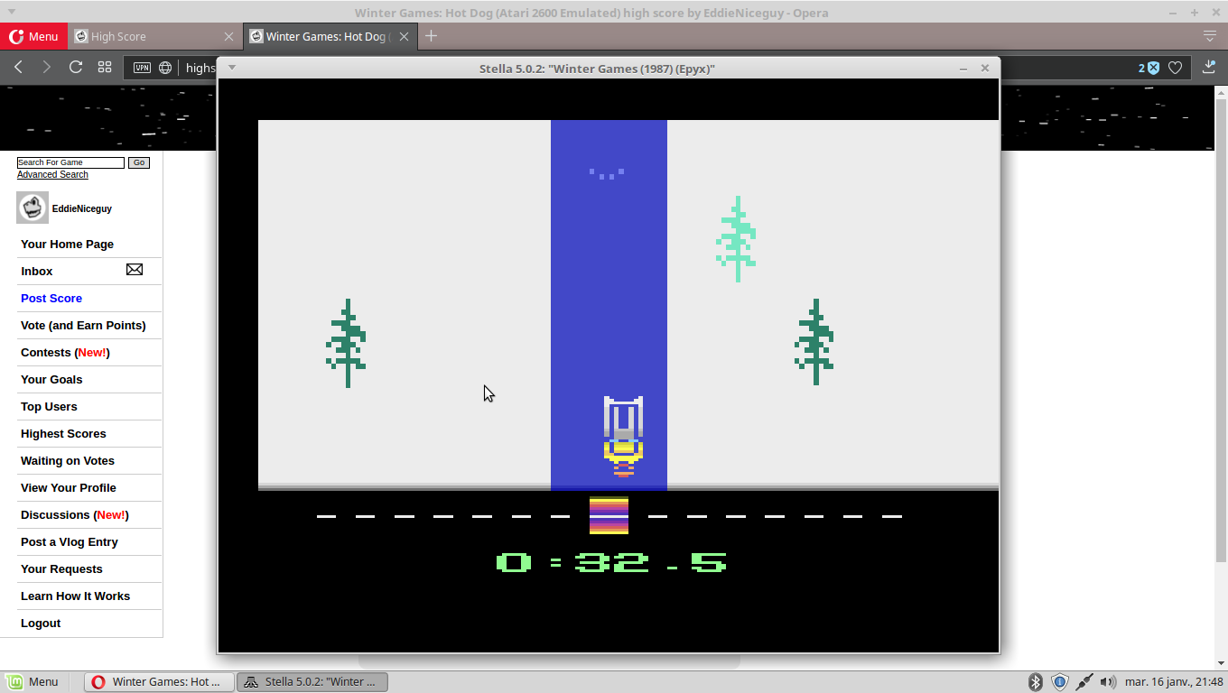 EddieNiceguy: Winter Games: Luge [Best Time] (Atari 2600 Emulated) 0:00:32.5 points on 2018-01-16 14:48:58