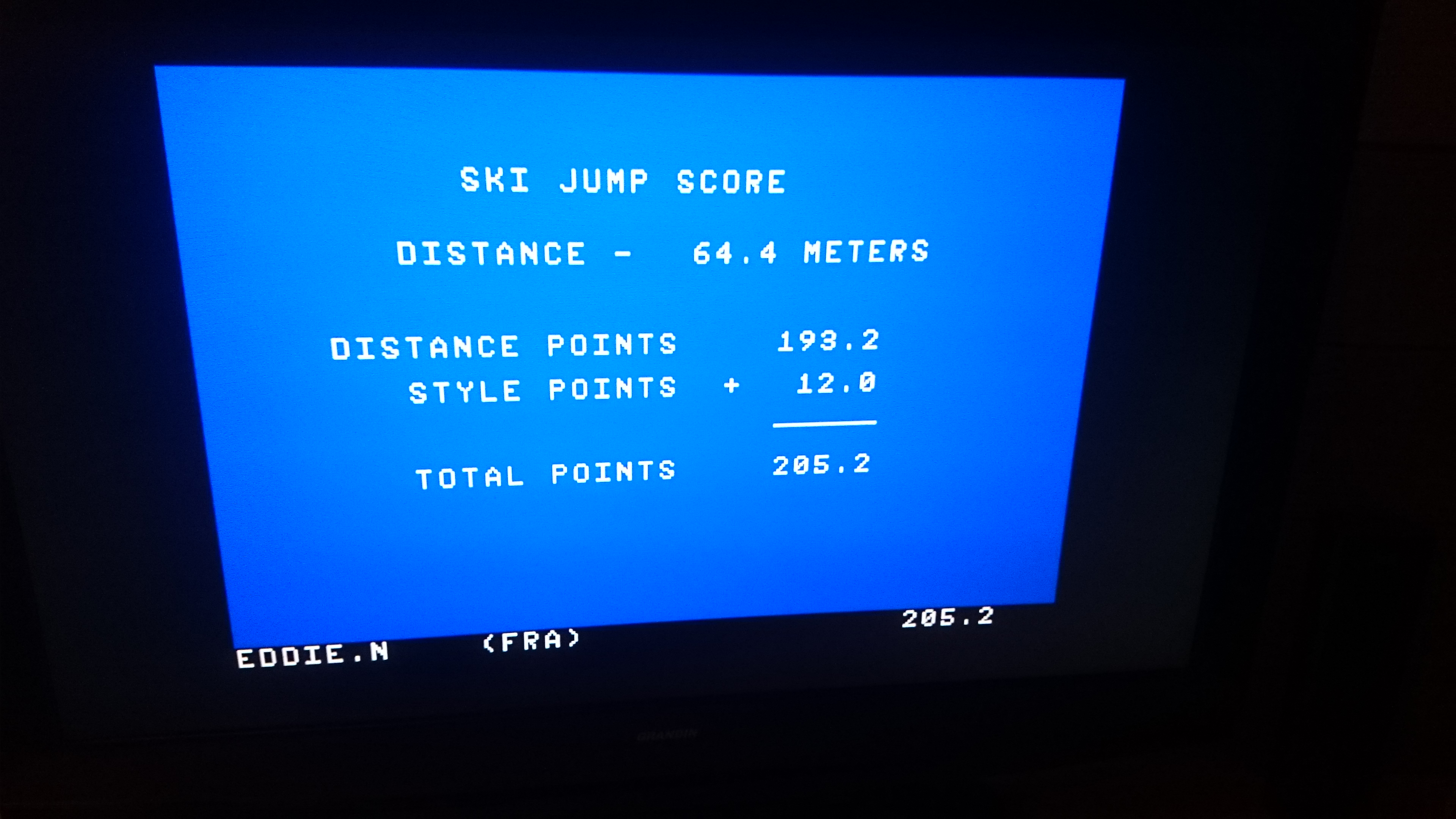 EddieNiceguy: Winter Games: Ski Jump (Atari 7800 Emulated) 205 points on 2017-11-19 14:06:30