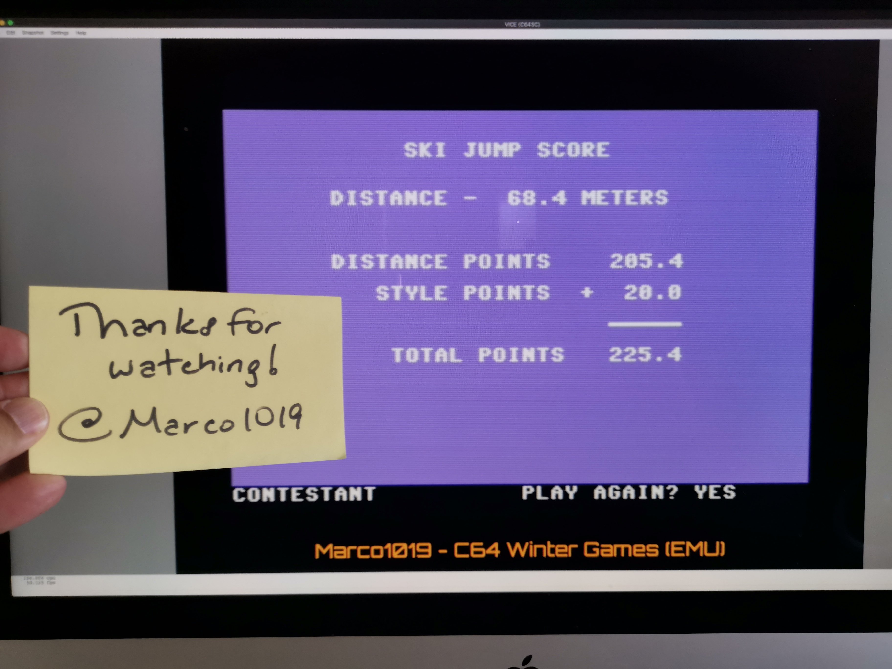 Marco1019: Winter Games: Ski Jump (Commodore 64 Emulated) 2,254 points on 2021-01-18 14:49:34
