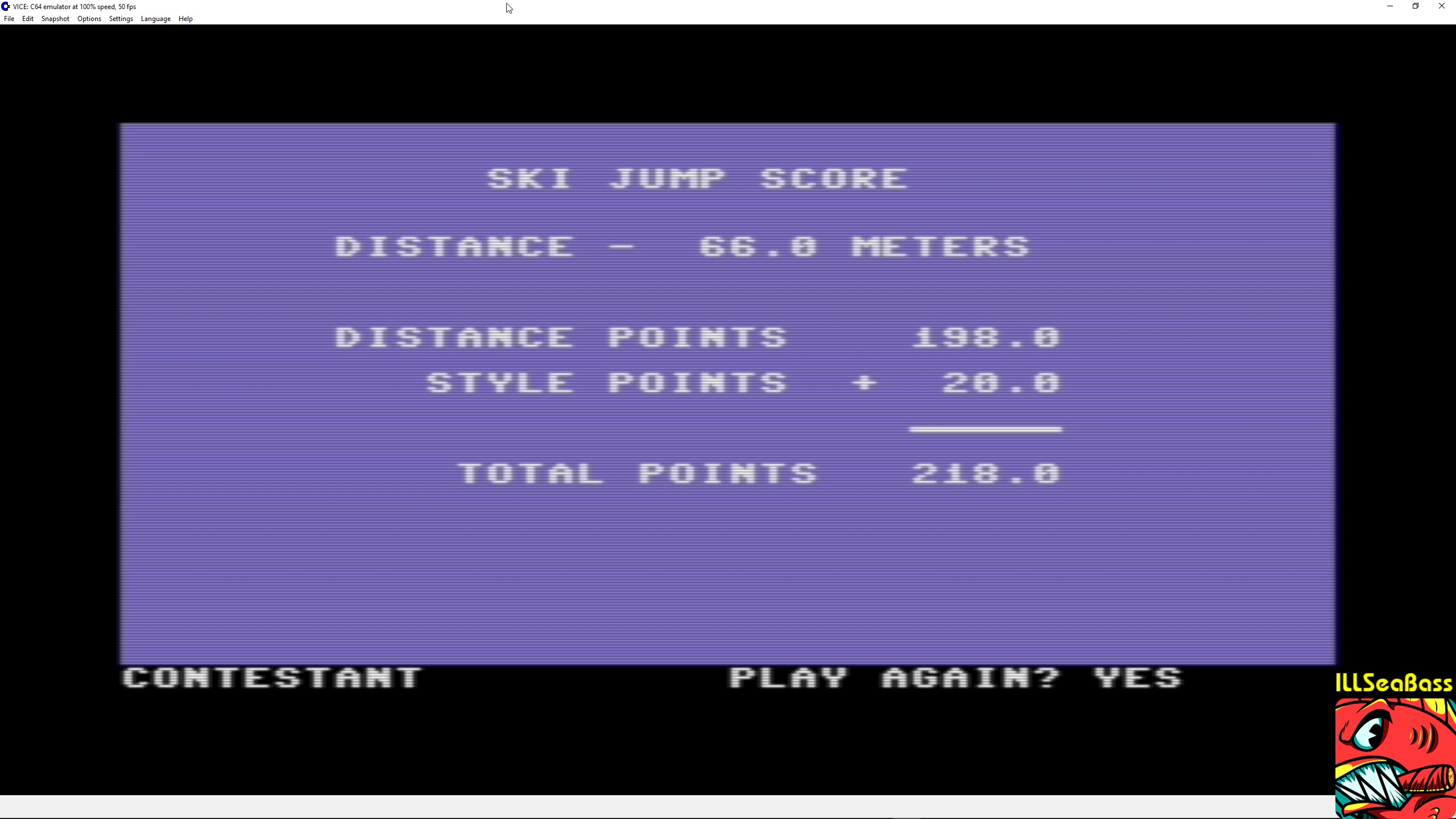 ILLSeaBass: Winter Games: Ski Jump (Commodore 64 Emulated) 2,180 points on 2018-02-27 00:02:02