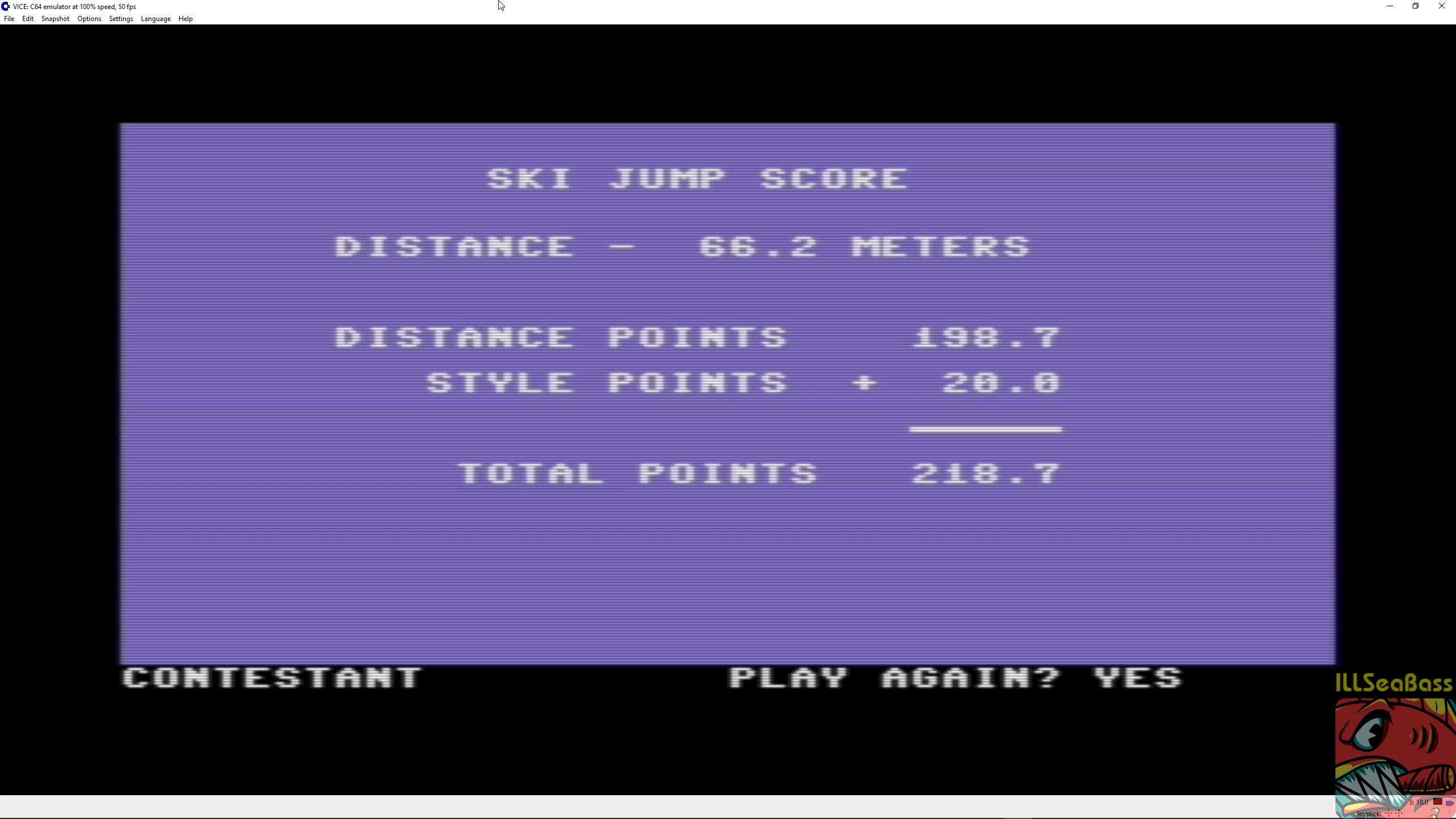 ILLSeaBass: Winter Games: Ski Jump (Commodore 64 Emulated) 2,187 points on 2018-04-17 01:02:50