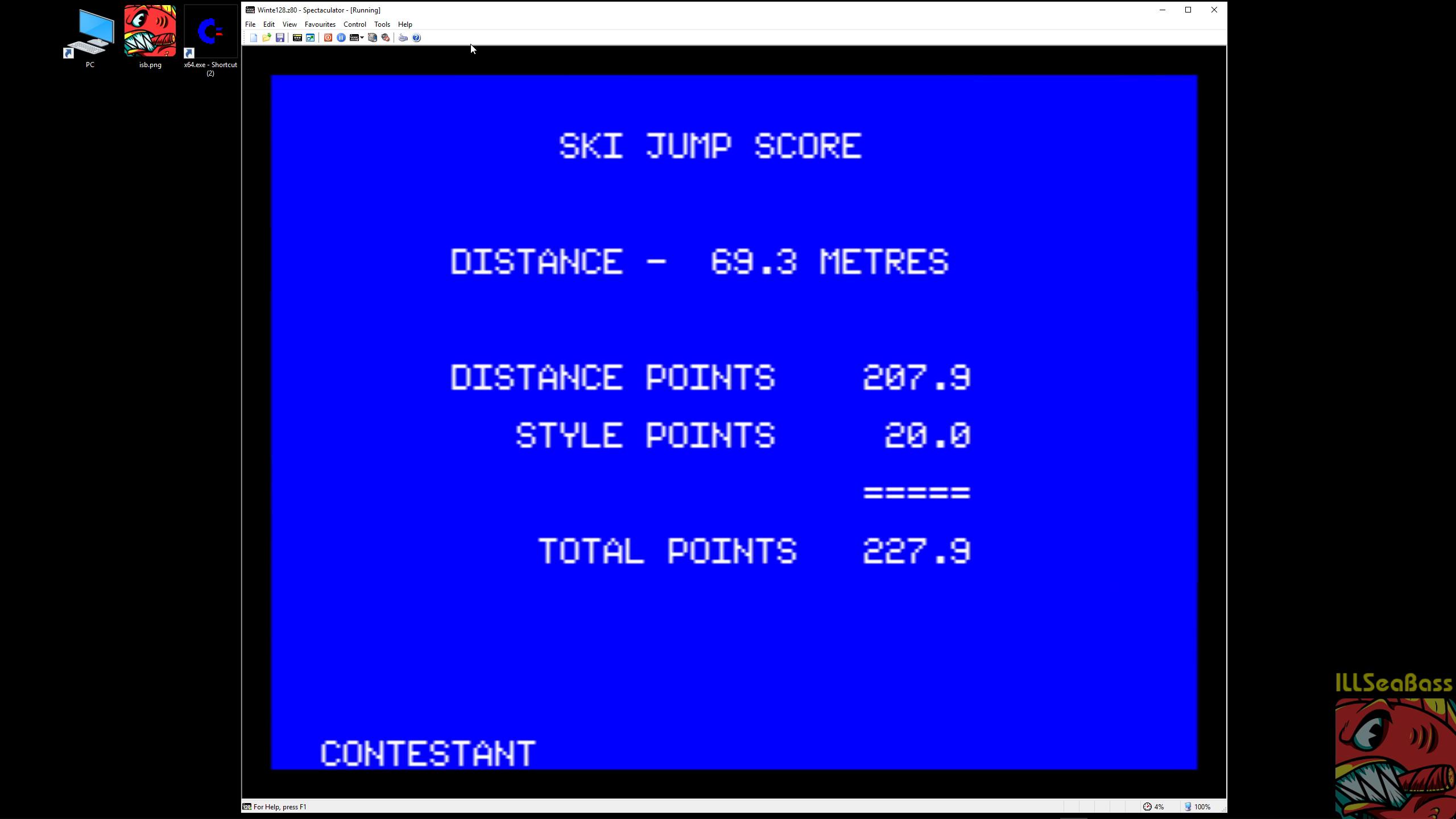 ILLSeaBass: Winter Games [Ski Jump] [Score * 10] (ZX Spectrum Emulated) 2,279 points on 2019-01-06 13:02:37