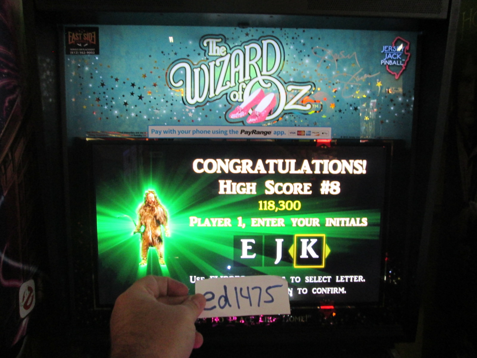 ed1475: Wizard of Oz (Pinball: 3 Balls) 118,300 points on 2016-08-25 19:38:05
