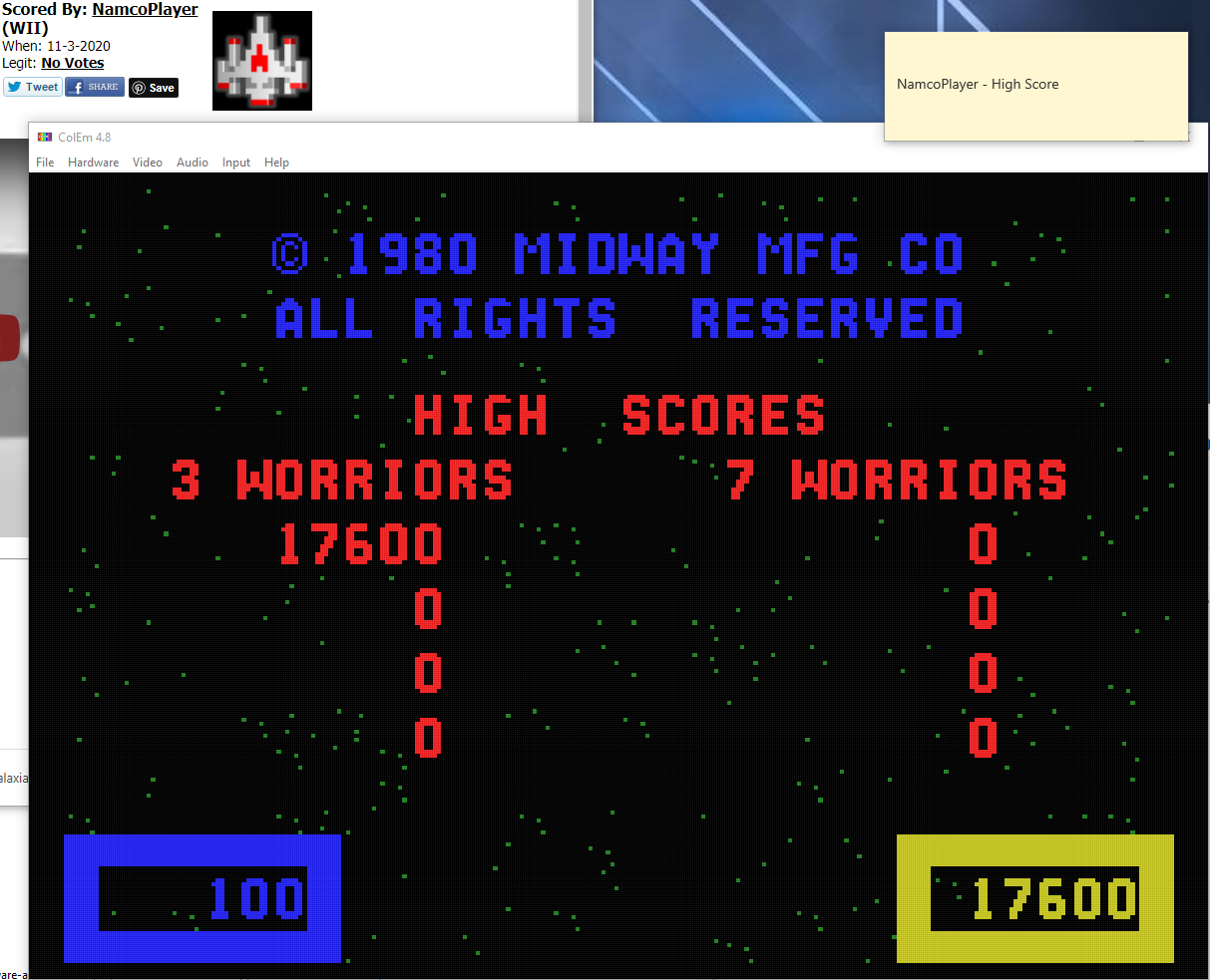 NamcoPlayer: Wizard of Wor (Colecovision Emulated) 17,600 points on 2020-11-03 17:44:43