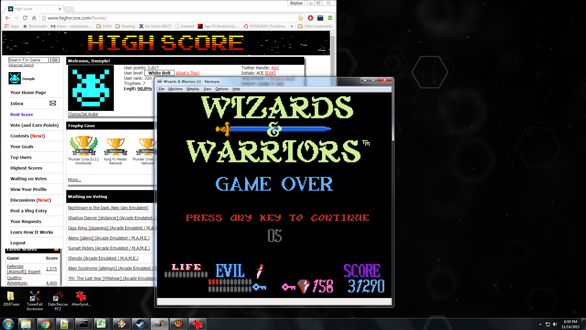 Dumple: Wizards & Warriors (NES/Famicom Emulated) 31,290 points on 2015-11-14 21:00:08