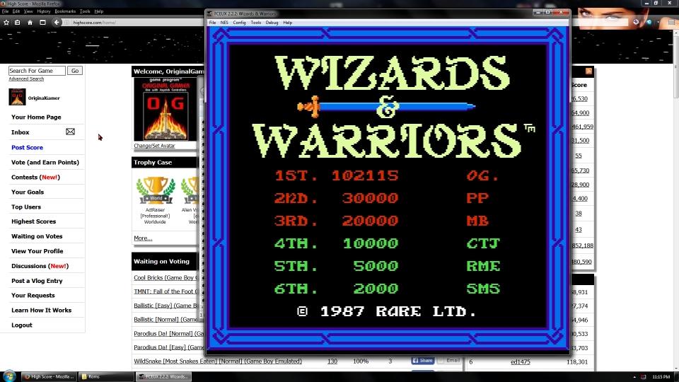 OriginalGamer: Wizards & Warriors (NES/Famicom Emulated) 102,115 points on 2016-07-15 15:42:05