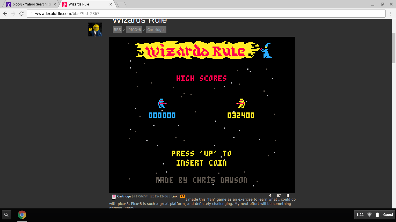 DarrylB: Wizards Rule [PICO-8] (Web) 32,400 points on 2016-06-14 14:55:30