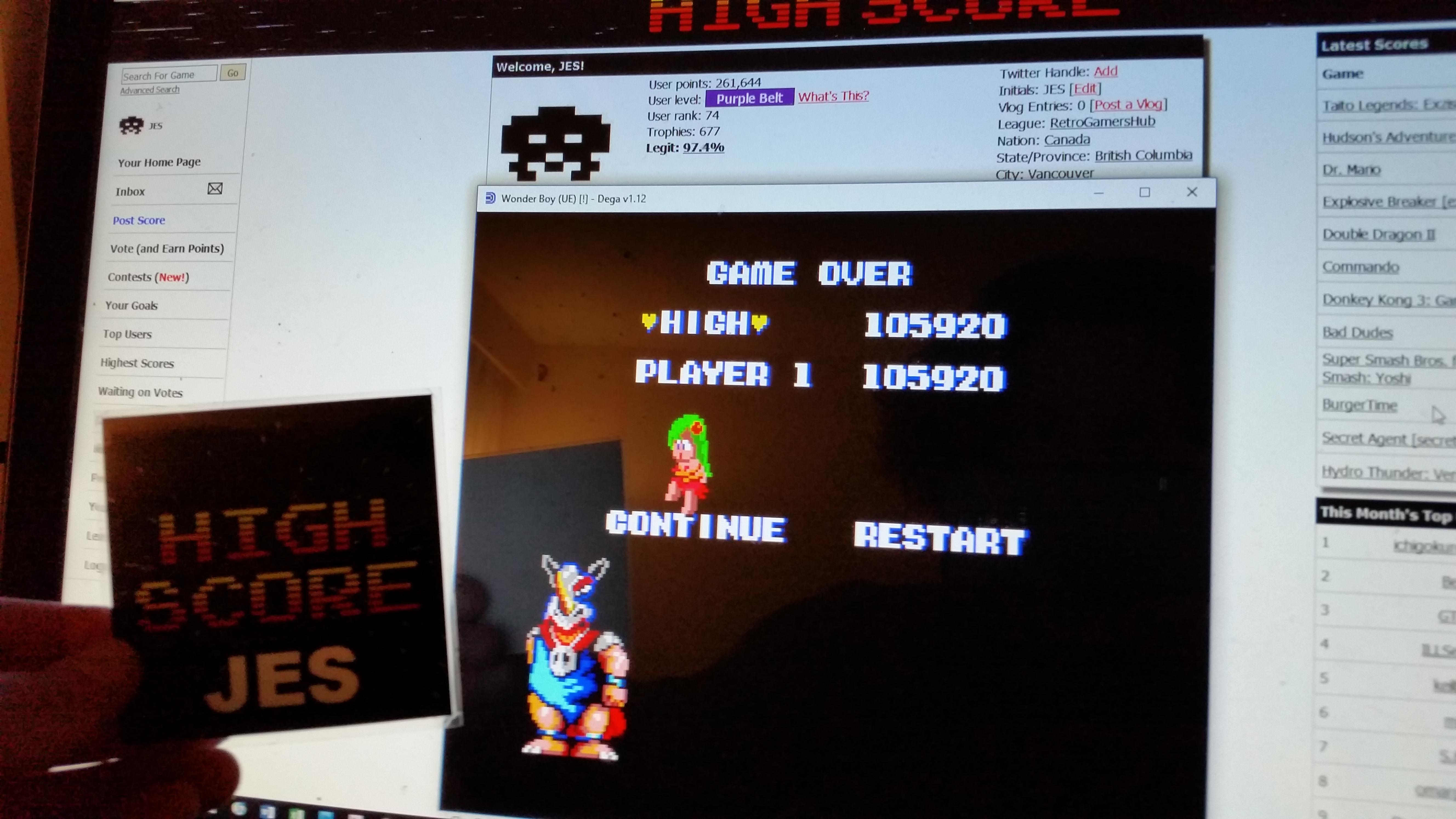 Wonder Boy 105,920 points