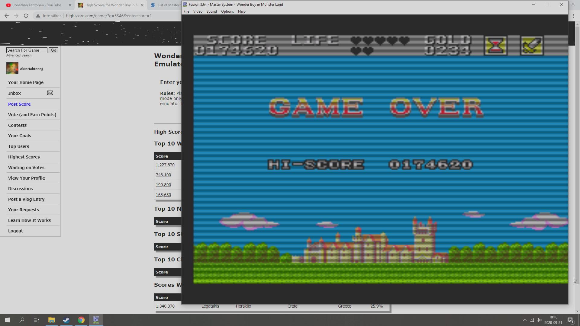 AkinNahtanoj: Wonder Boy in Monster Land (Sega Master System Emulated) 174,620 points on 2020-09-21 03:45:59