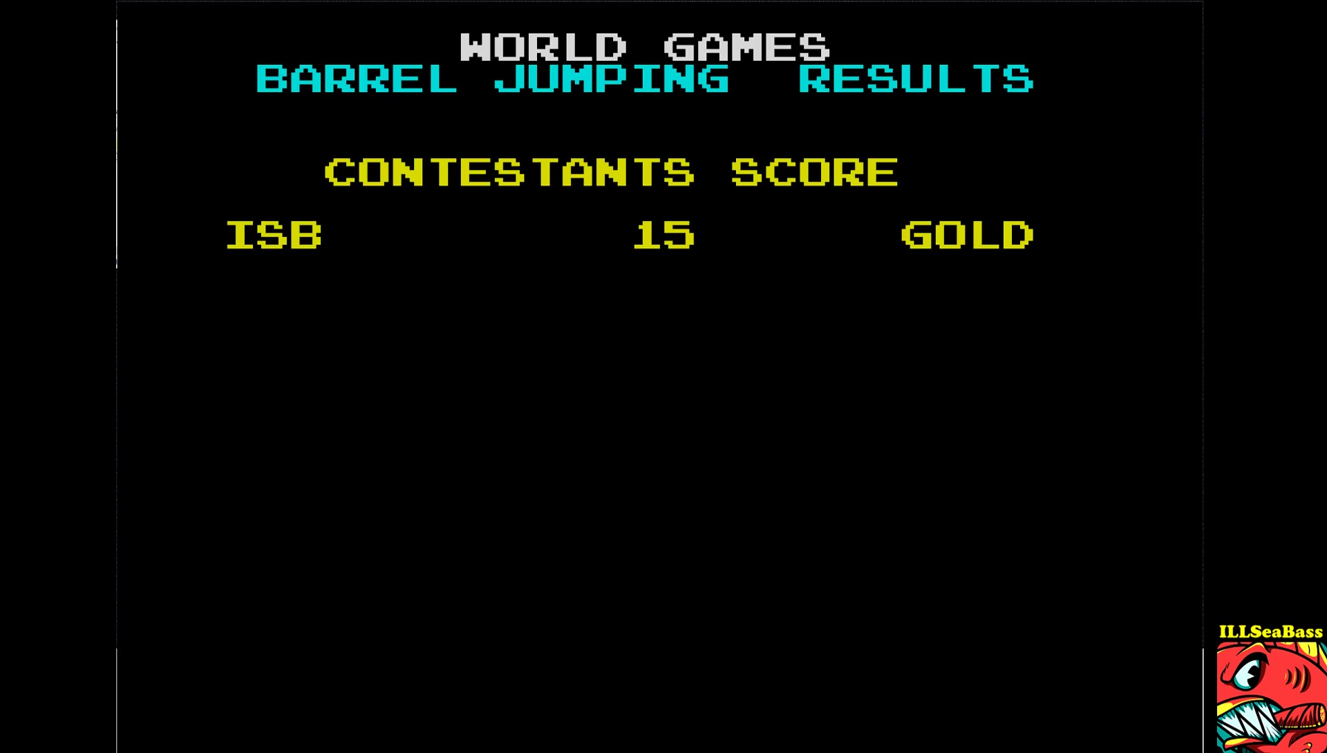 ILLSeaBass: World Games [Barrel Jumping] [Barrels Cleared] (ZX Spectrum Emulated) 15 points on 2017-08-28 12:39:45