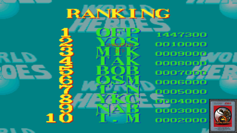 omargeddon: World Heroes [Difficulty Level 0] (SNES/Super Famicom Emulated) 1,447,300 points on 2017-02-20 01:15:36