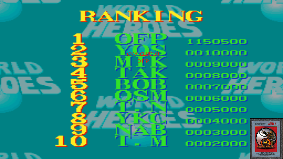 omargeddon: World Heroes [Difficulty Level 1] (SNES/Super Famicom Emulated) 1,150,500 points on 2017-02-18 22:35:28