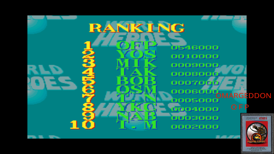omargeddon: World Heroes [Difficulty Level 2] (SNES/Super Famicom Emulated) 546,000 points on 2017-06-10 21:56:20
