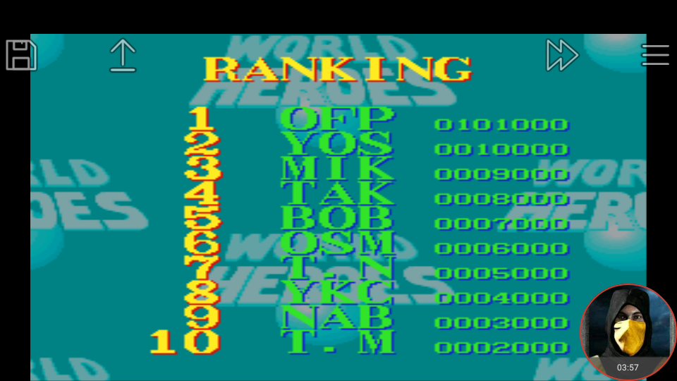 omargeddon: World Heroes [Difficulty Level 3] (SNES/Super Famicom Emulated) 101,000 points on 2018-03-14 16:31:36