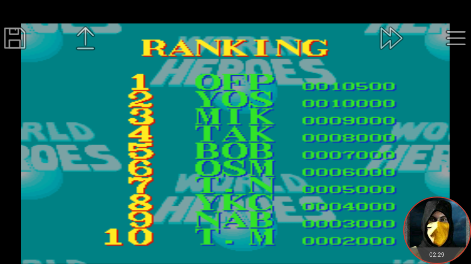 omargeddon: World Heroes [Difficulty Level 6] (SNES/Super Famicom Emulated) 10,500 points on 2018-03-14 16:35:49