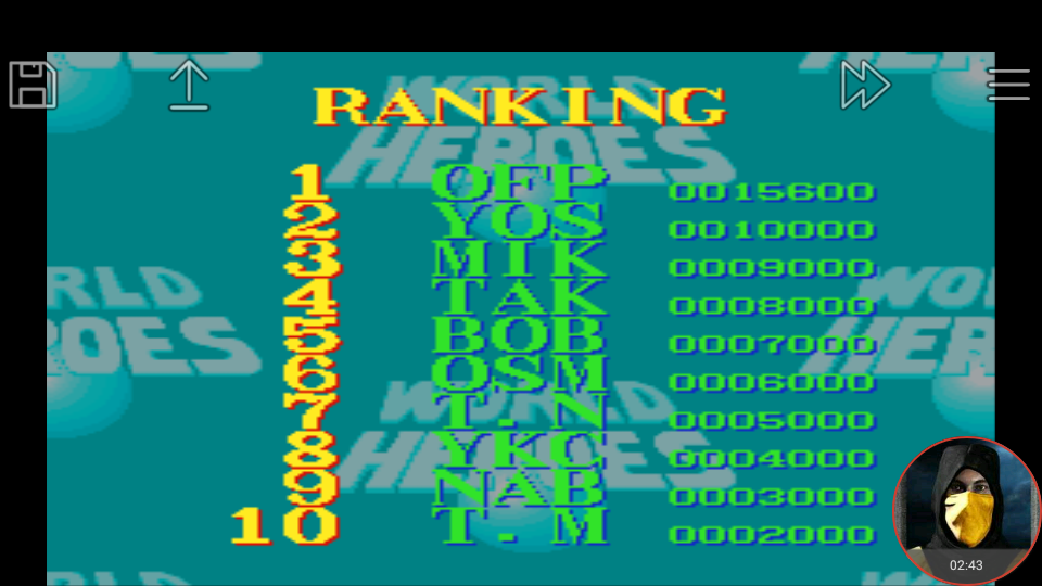 omargeddon: World Heroes [Difficulty Level 7] (SNES/Super Famicom Emulated) 15,600 points on 2018-03-14 16:36:26