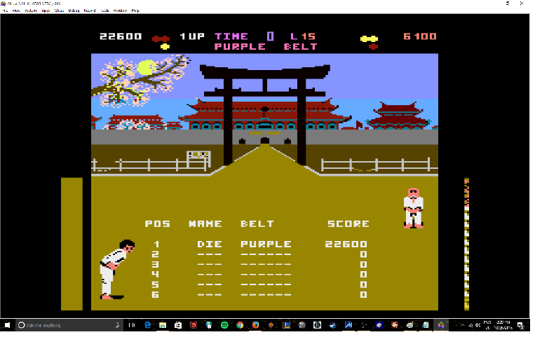 MikeDietrich: World Karate Championship (Atari 400/800/XL/XE Emulated) 22,600 points on 2016-10-25 14:32:21