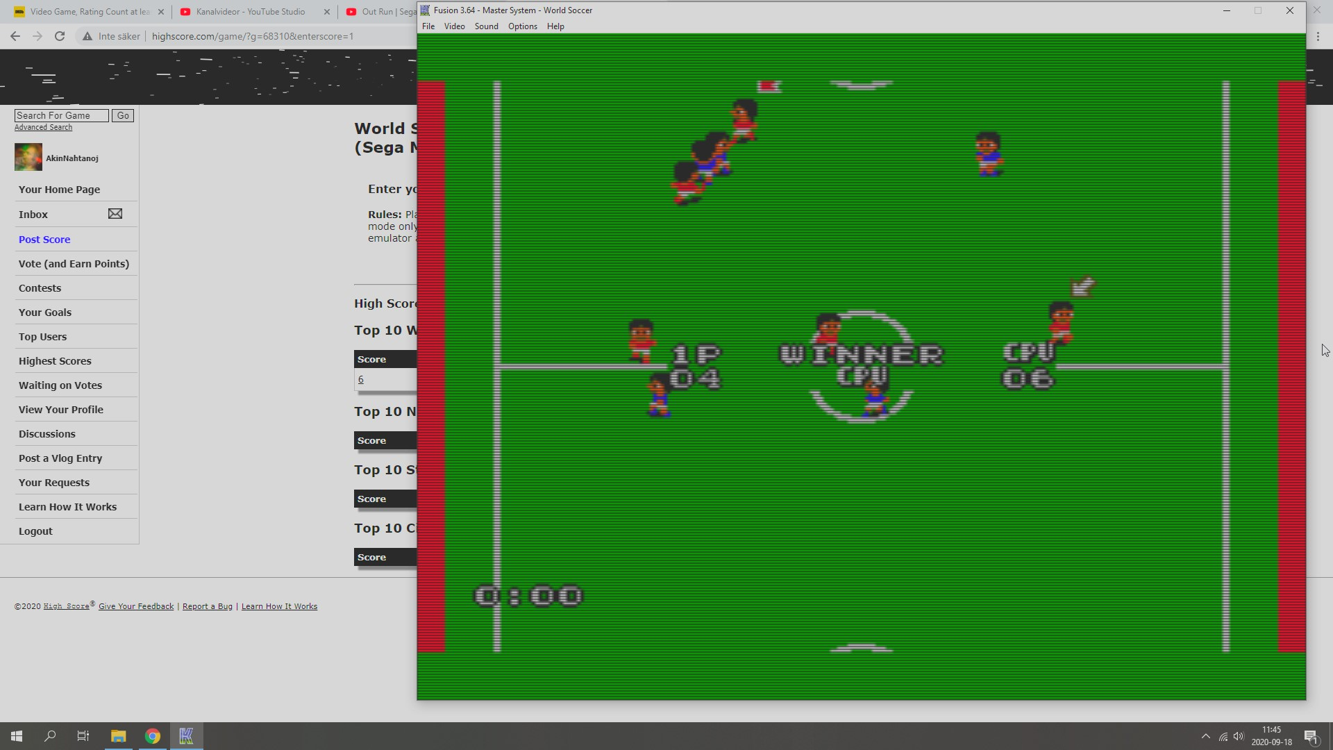 AkinNahtanoj: World Soccer [Point Difference / Soccer Game] (Sega Master System Emulated) -2 points on 2020-09-18 05:02:05