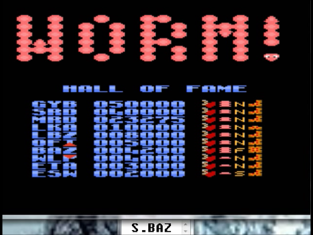 S.BAZ: Worm! [Fast/Long Body/All] (Atari 7800 Emulated) 4,200 points on 2016-02-29 18:08:45