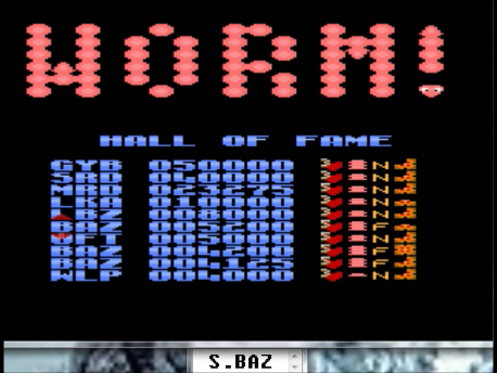 S.BAZ: Worm! [Fast/Long Body/Some] (Atari 7800 Emulated) 5,200 points on 2016-02-29 18:24:46