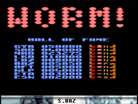 S.BAZ: Worm! [Fast/Normal Body/Some] (Atari 7800 Emulated) 5,850 points on 2016-02-29 18:28:35