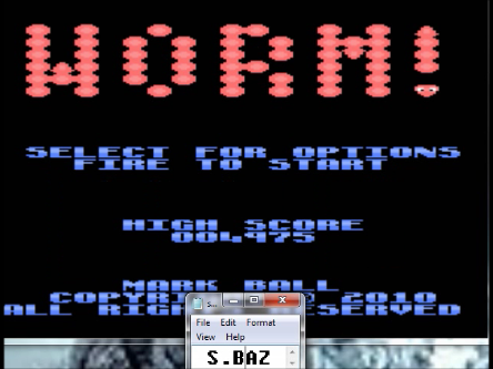 S.BAZ: Worm! [Fast/Short Body/All] (Atari 7800 Emulated) 4,975 points on 2016-03-02 01:16:42