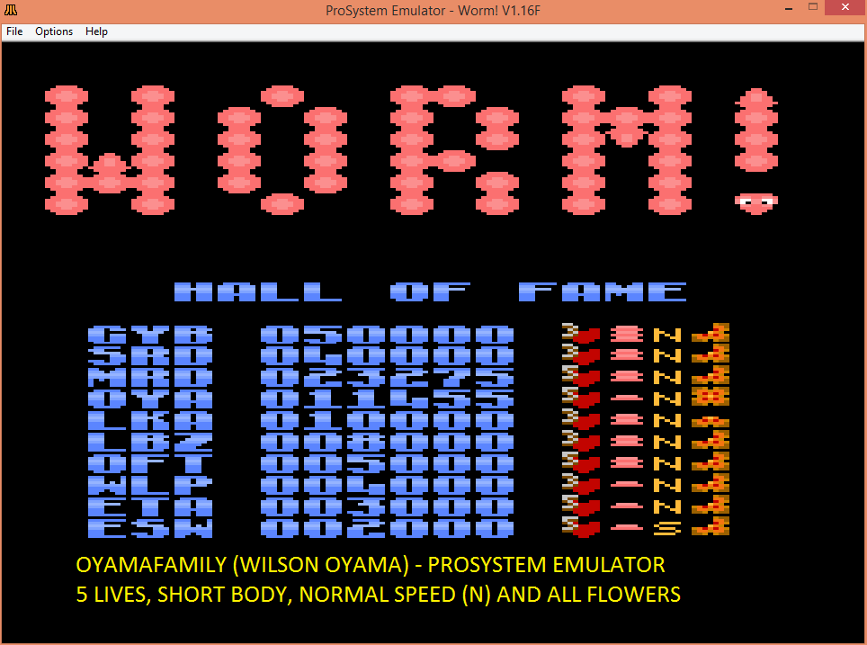 oyamafamily: Worm! [Normal/Short Body/All] (Atari 7800 Emulated) 11,455 points on 2016-03-16 20:13:39