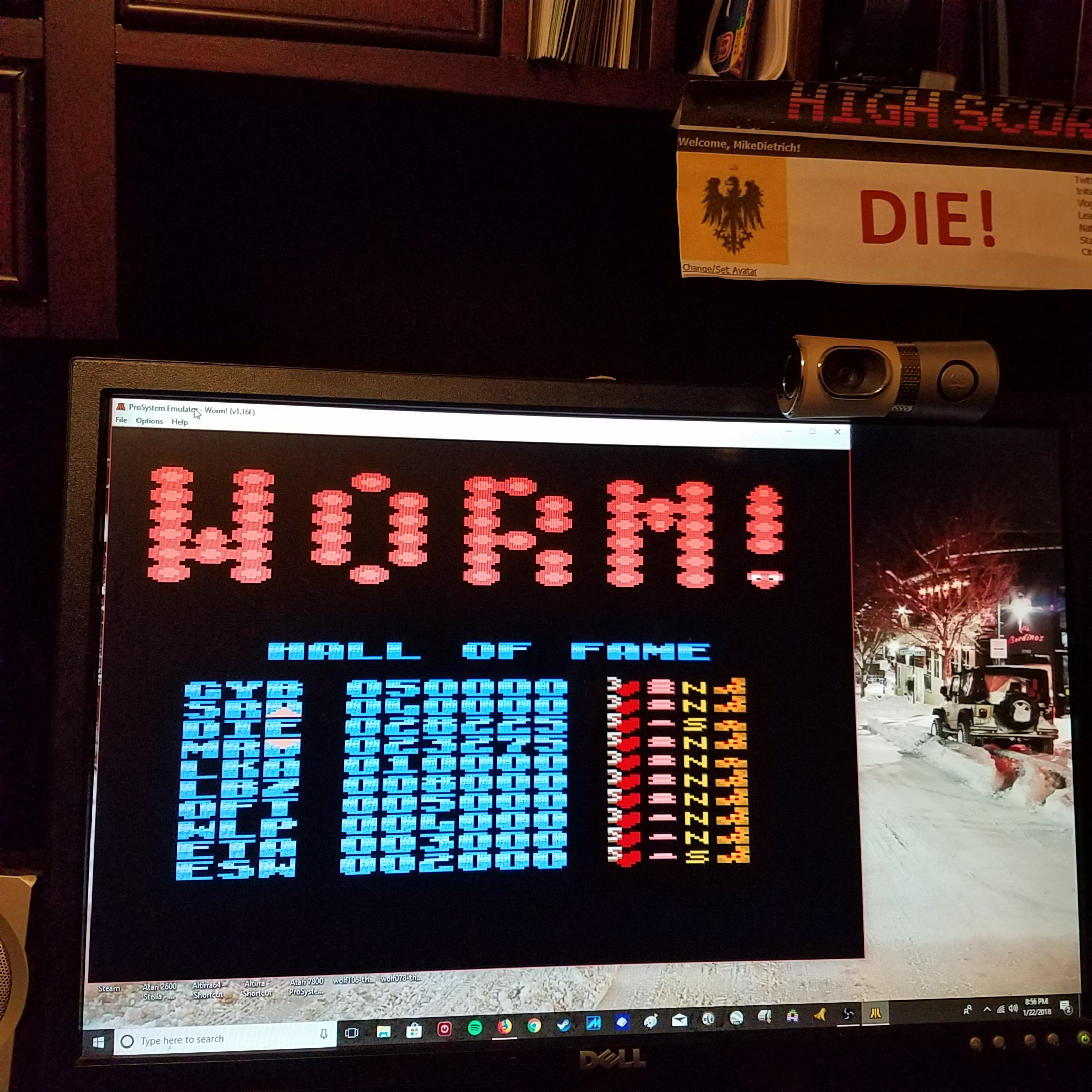 MikeDietrich: Worm! [Slow/Short Body/Some] (Atari 7800 Emulated) 28,225 points on 2018-01-22 21:00:19