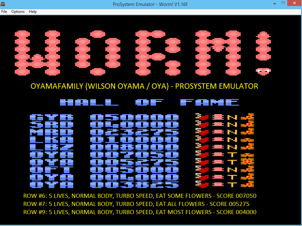 oyamafamily: Worm! [Turbo/Normal Body/Most] (Atari 7800 Emulated) 4,000 points on 2016-03-20 11:52:12