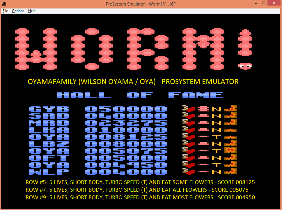 oyamafamily: Worm! [Turbo/Short Body/All] (Atari 7800 Emulated) 5,075 points on 2016-03-19 21:05:13