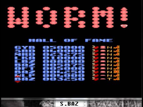 S.BAZ: Worm! [Turbo/Short Body/Most] (Atari 7800 Emulated) 3,250 points on 2016-02-29 19:47:23