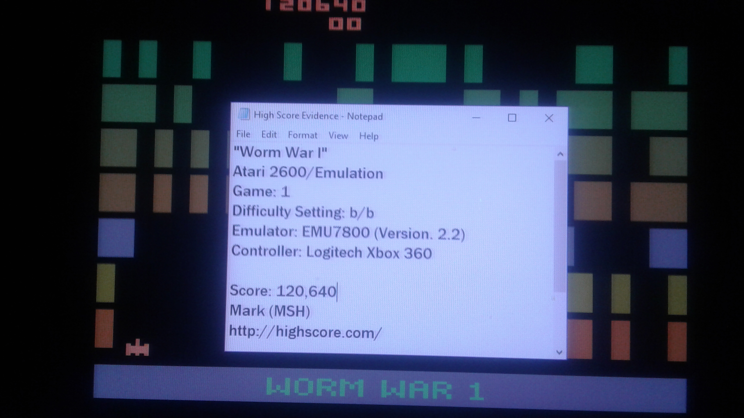 Mark: Worm War I (Atari 2600 Emulated Novice/B Mode) 120,640 points on 2019-03-24 04:25:42