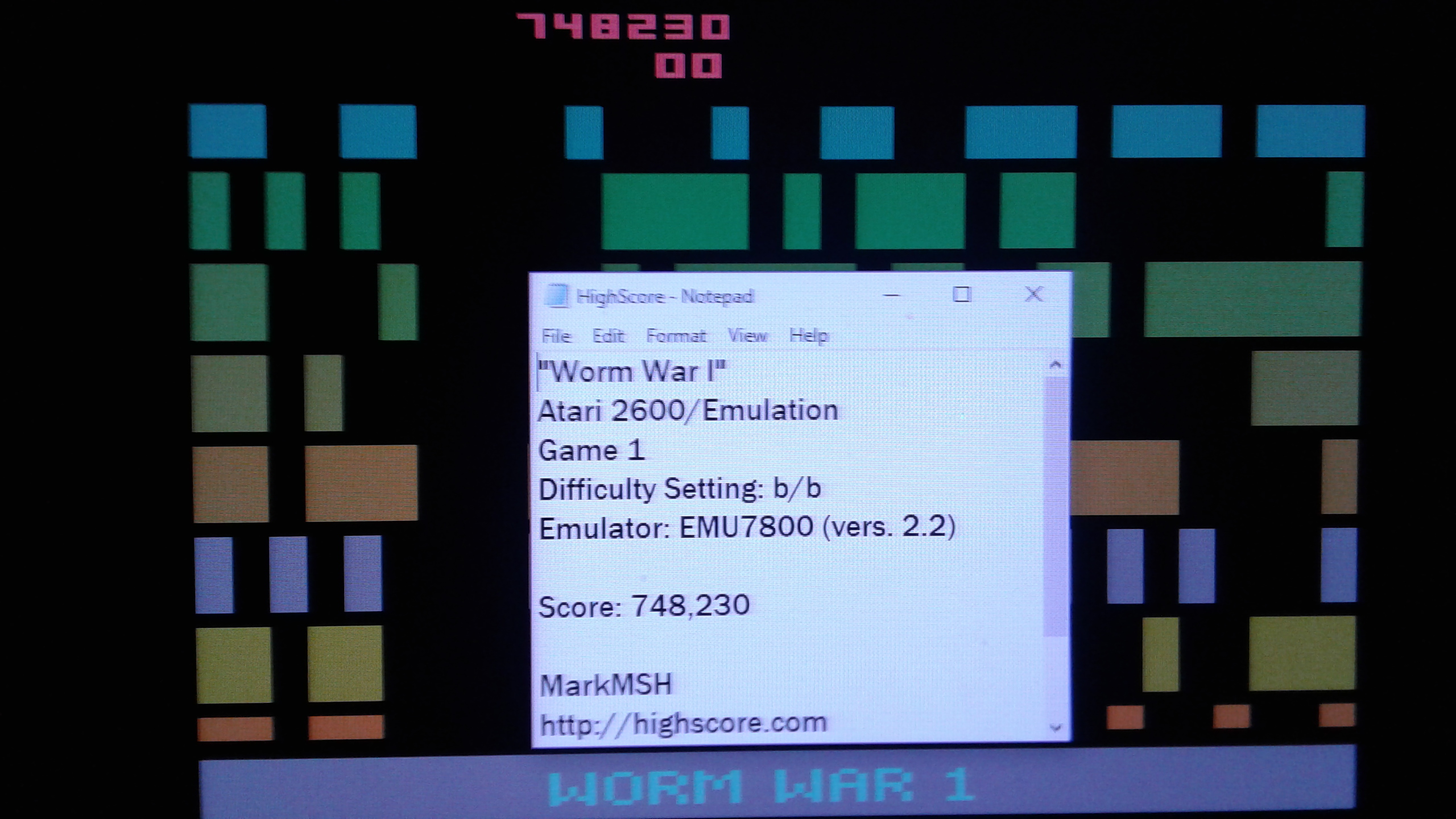 Mark: Worm War I (Atari 2600 Emulated Novice/B Mode) 748,230 points on 2019-04-25 01:42:45