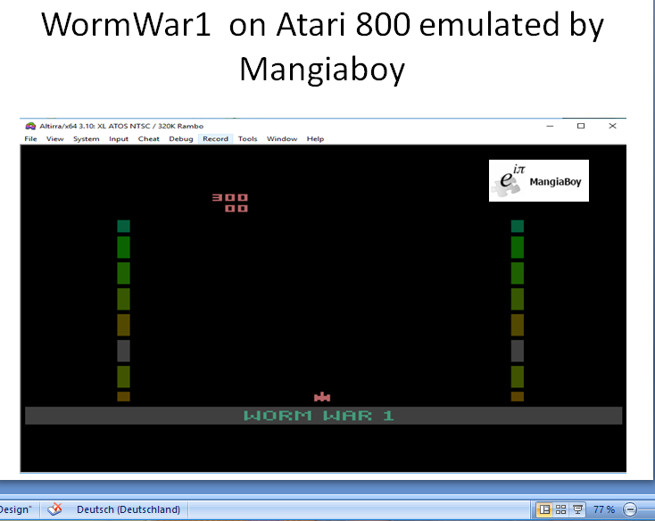 MangiaBoy: Worm War I (Atari 400/800/XL/XE Emulated) 300 points on 2018-10-24 16:44:45