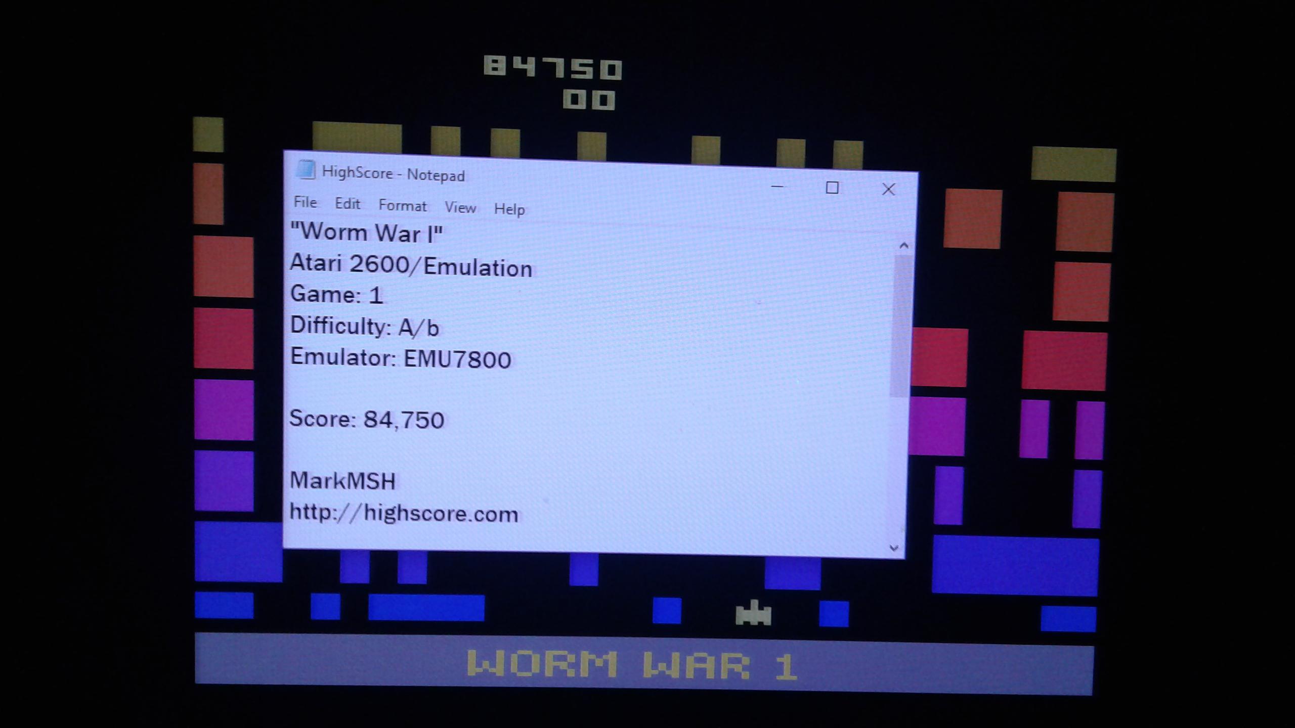 Mark: Worm War I: Game 1AB (Atari 2600 Emulated) 84,750 points on 2019-03-10 01:13:37