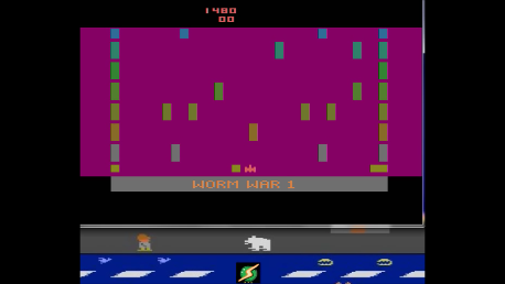 S.BAZ: Worm War I: Game 3 (Atari 2600 Emulated Expert/A Mode) 1,480 points on 2018-04-06 12:40:12