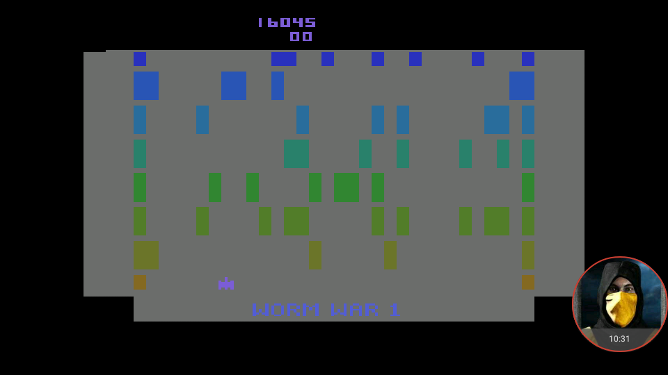 omargeddon: Worm War I: Game 3 (Atari 2600 Emulated Novice/B Mode) 16,045 points on 2018-04-07 15:14:23