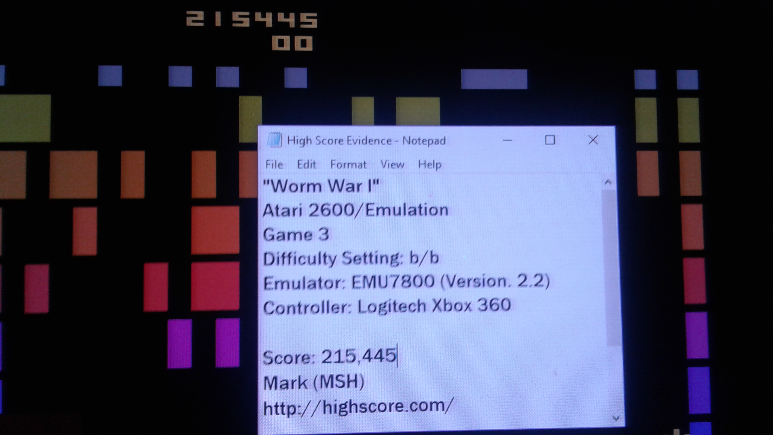 Mark: Worm War I: Game 3 (Atari 2600 Emulated Novice/B Mode) 215,445 points on 2019-04-12 02:47:11