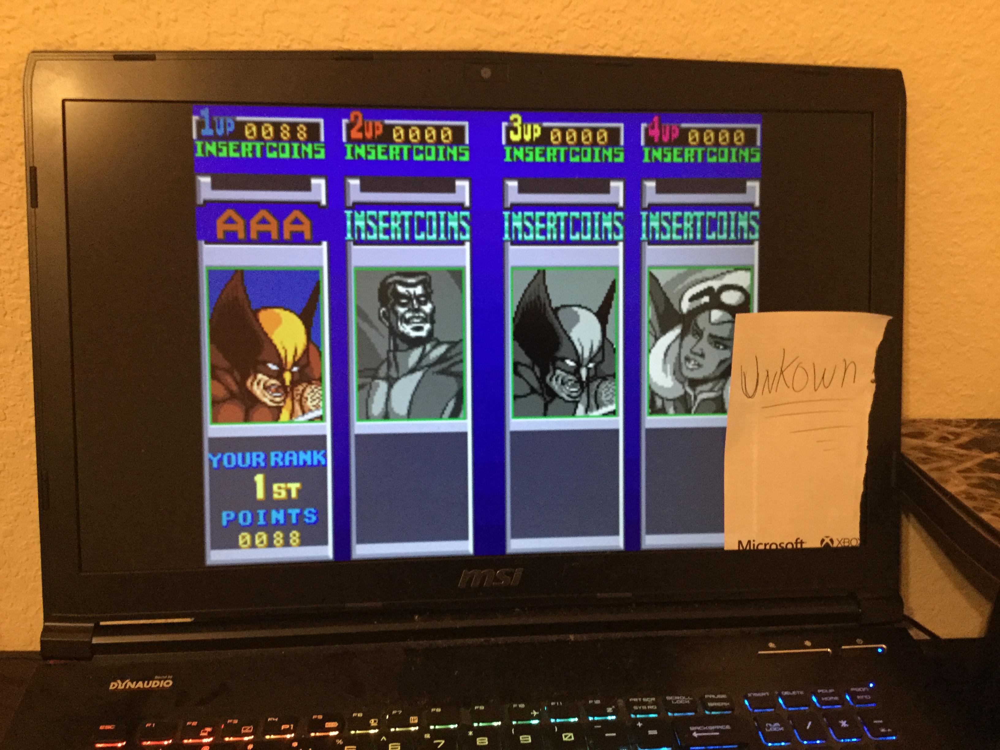 Unkown: X-Men [xmen] (Arcade Emulated / M.A.M.E.) 88 points on 2016-01-14 09:00:37