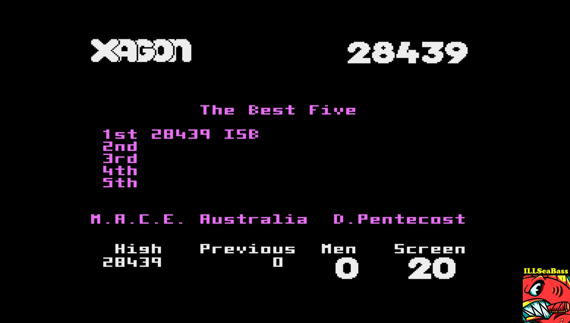 ILLSeaBass: Xagon (Atari 400/800/XL/XE Emulated) 28,439 points on 2017-06-22 00:29:19