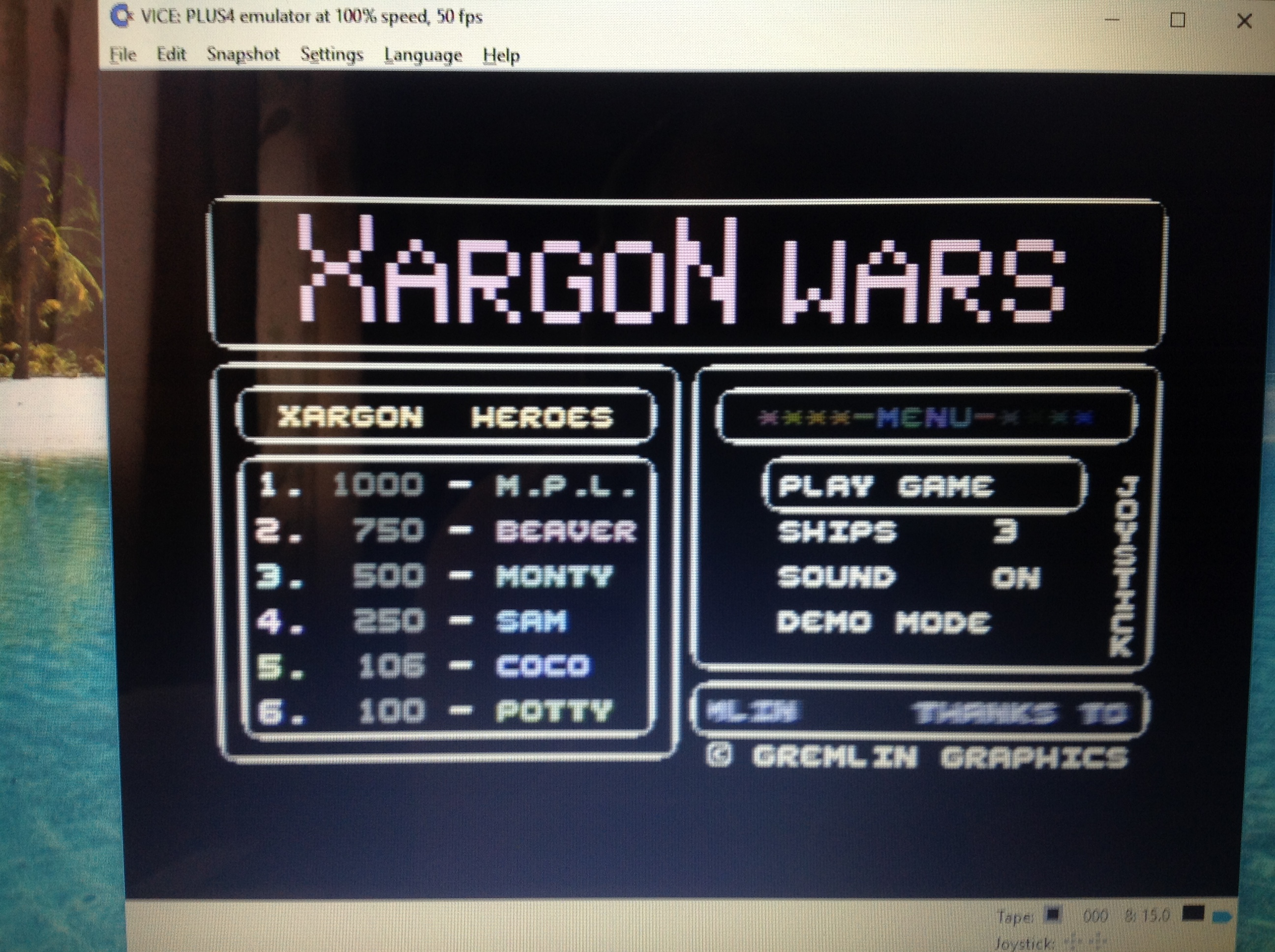 CoCoForest: Xargon Wars (Commodore 16/Plus4 Emulated) 106 points on 2017-08-14 03:17:49