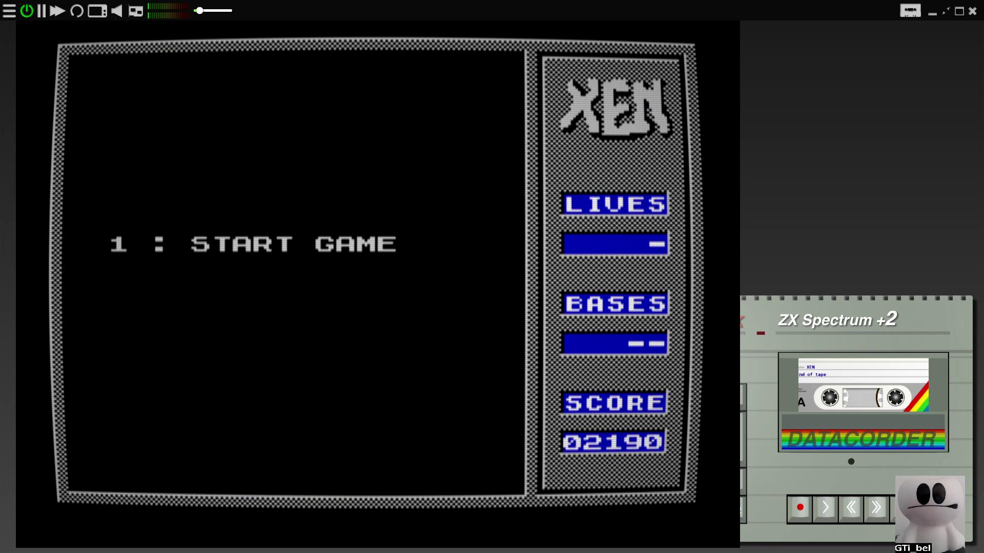 GTibel: Xen (ZX Spectrum Emulated) 2,190 points on 2020-08-10 07:07:07