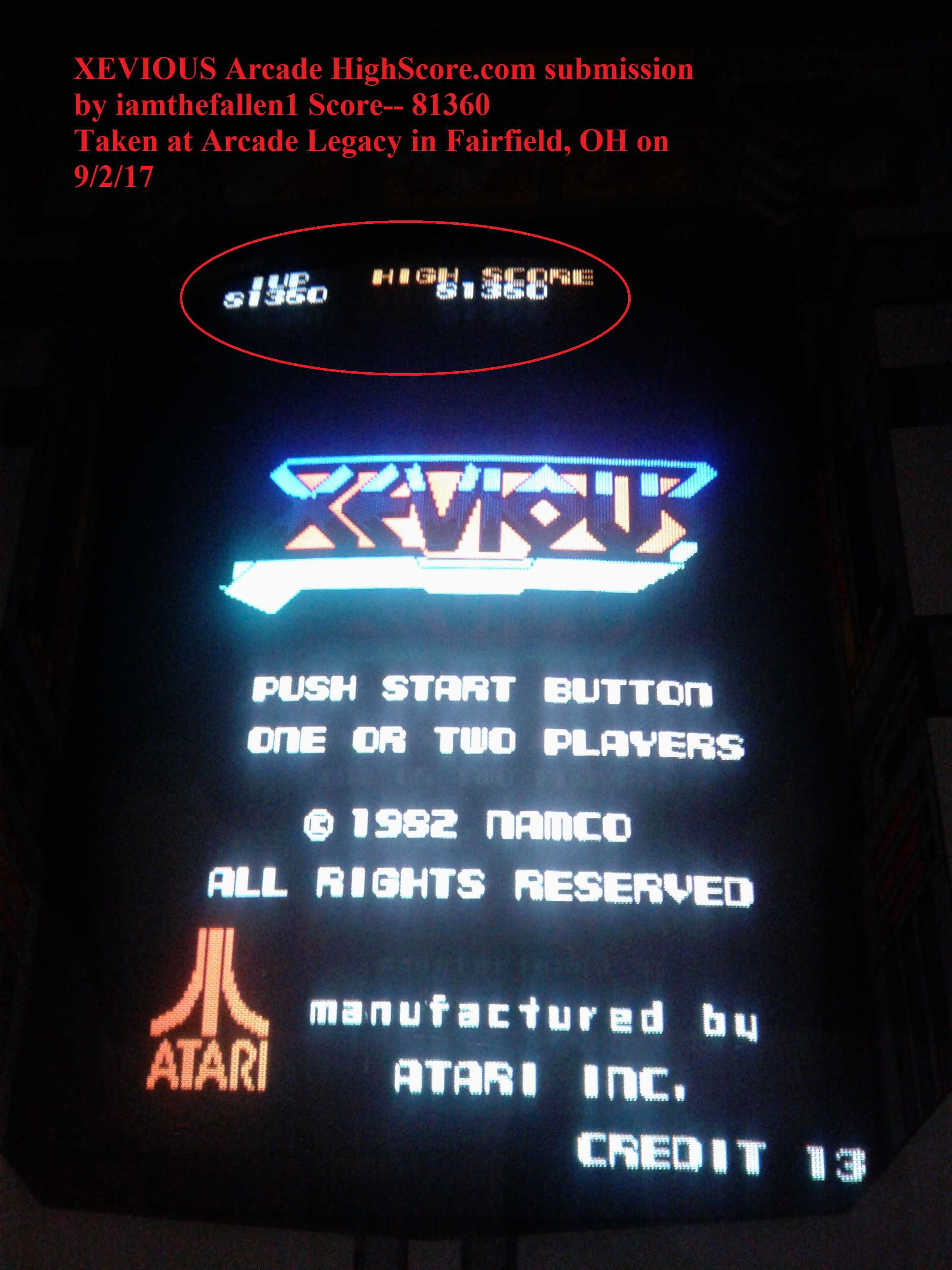 iamthefallen1: Xevious (Arcade) 81,360 points on 2017-09-04 16:52:39